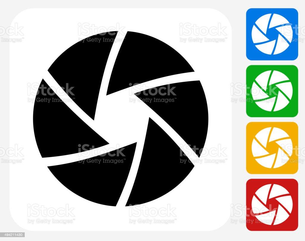 Camera Shutter Icon Flat Graphic Design vector art illustration
