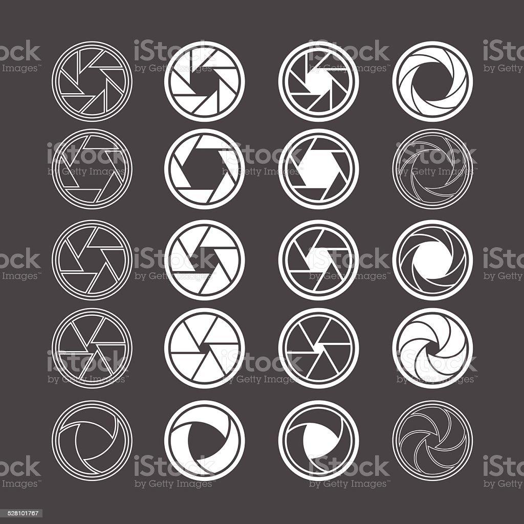 camera shutter icon set, vector eps10 vector art illustration