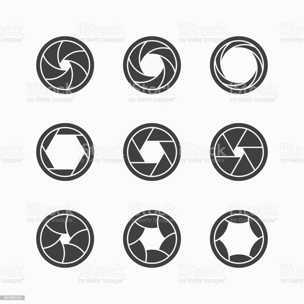 Camera shutter icons vector art illustration