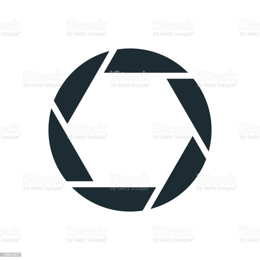 Camera shutter, simple conceptual logo vector art illustration