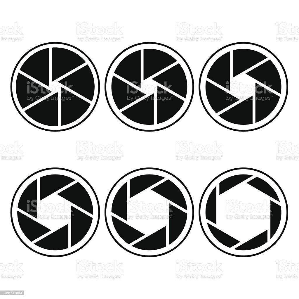camera shutter symbols vector illustration vector art illustration