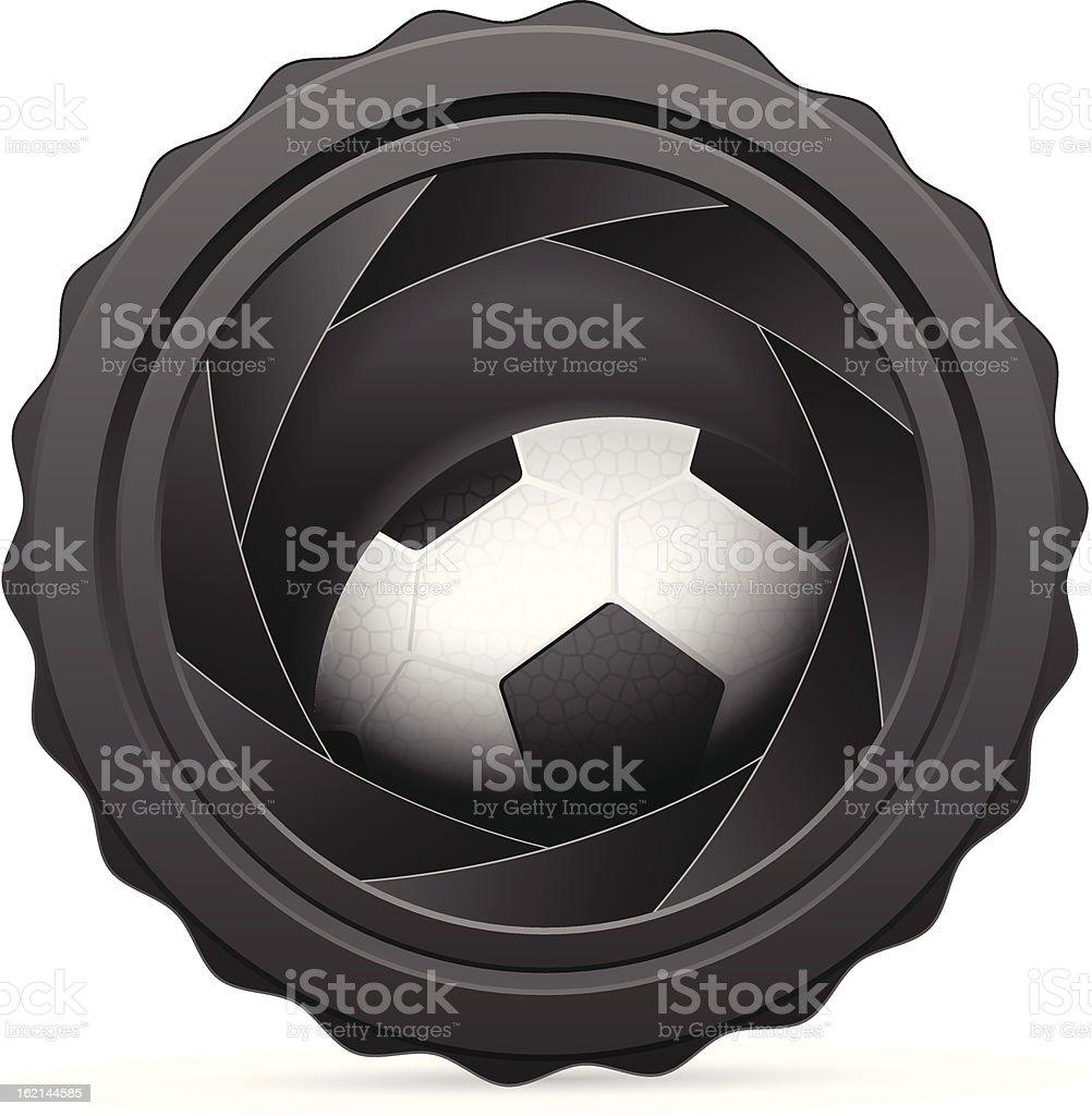 camera shutter with soccer ball royalty-free stock vector art