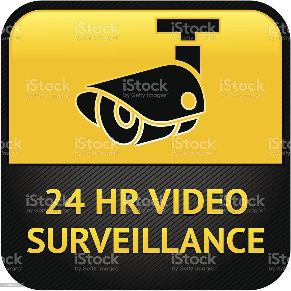 CCTV camera sign vector art illustration