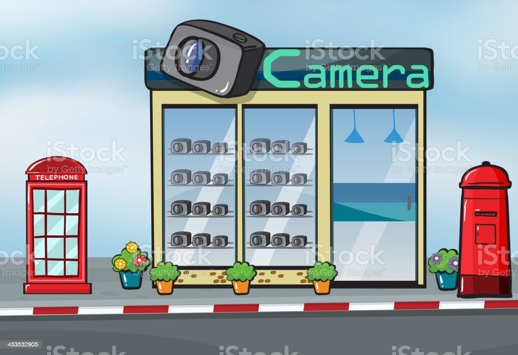 camera store and letterbox royalty-free stock vector art