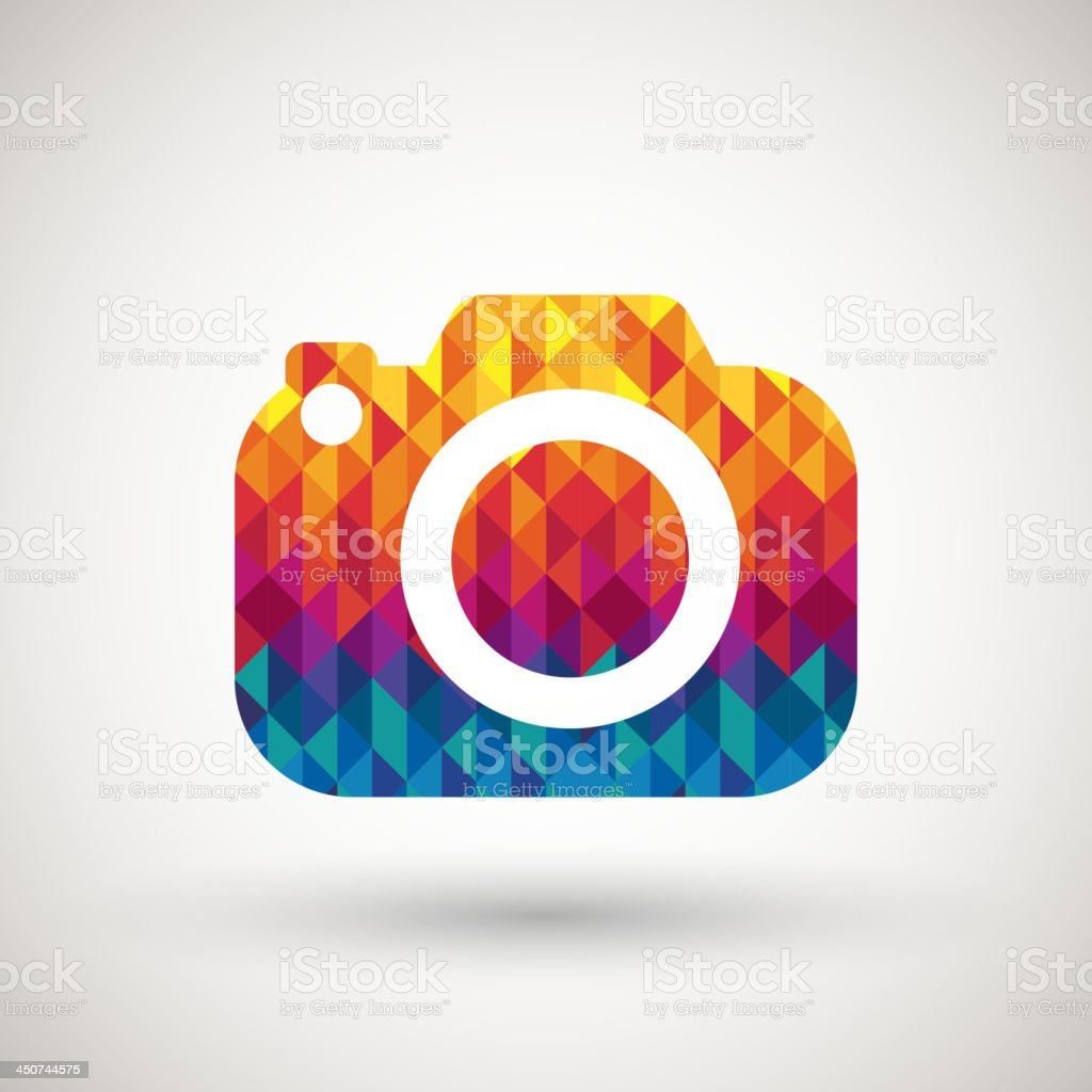 camera symbol with colorful diamond royalty-free stock vector art
