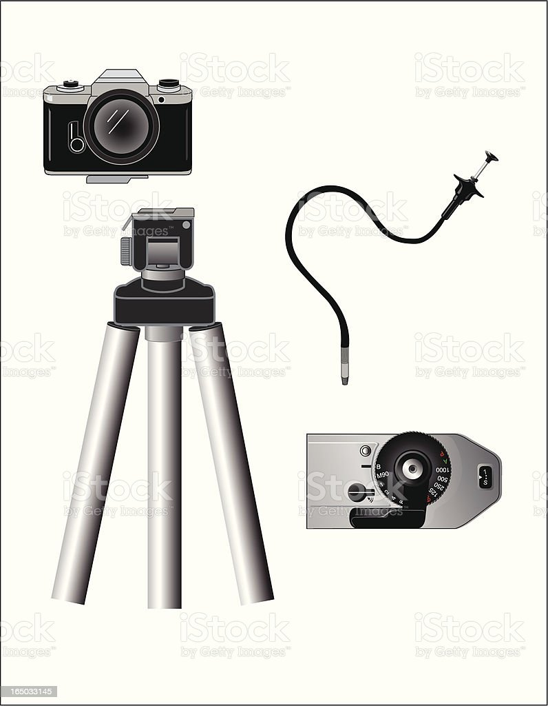 Camera Tripod Stand and Parts royalty-free stock vector art
