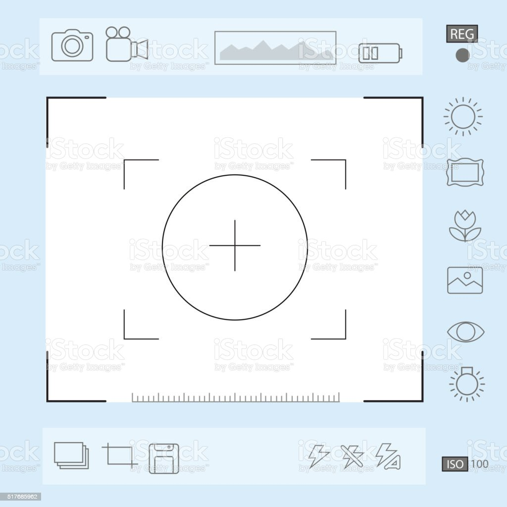 Camera viewfinder display, Exposure, composition focus, zoom, portrait vector vector art illustration