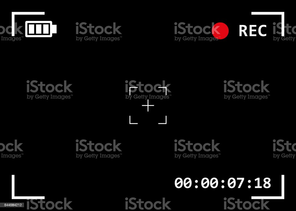 Camera viewfinder with exposure and camera settings vector art illustration