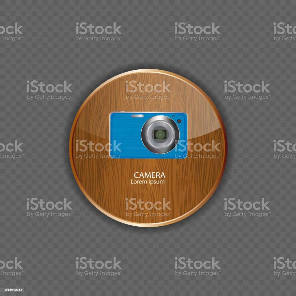 Camera wood application icons vector illustration royalty-free stock vector art