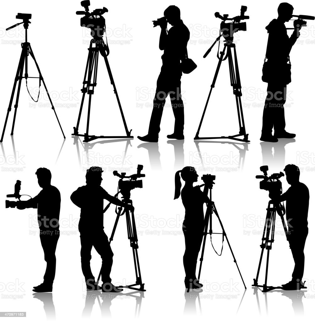 Cameraman with video camera. Silhouettes on white background. Vector illustration. vector art illustration