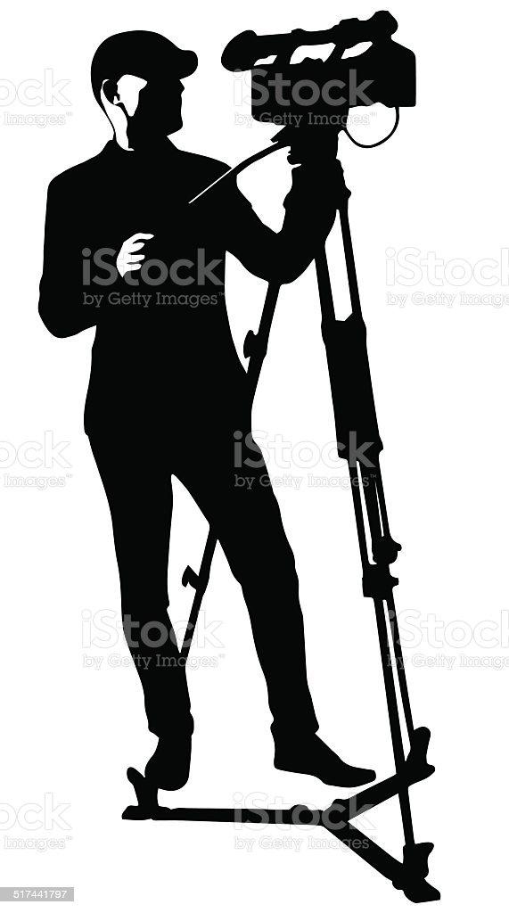 cameraman with video camera vector art illustration