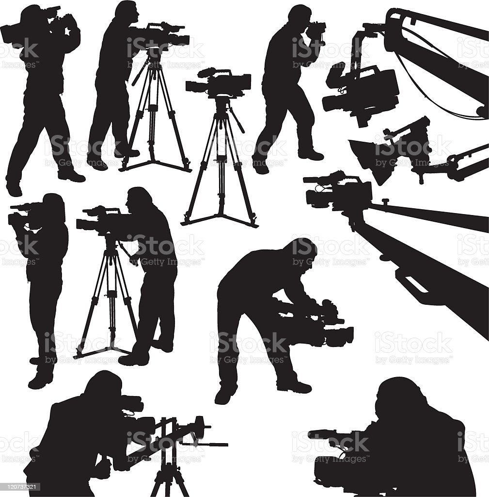 cameramen and camcorders vector art illustration