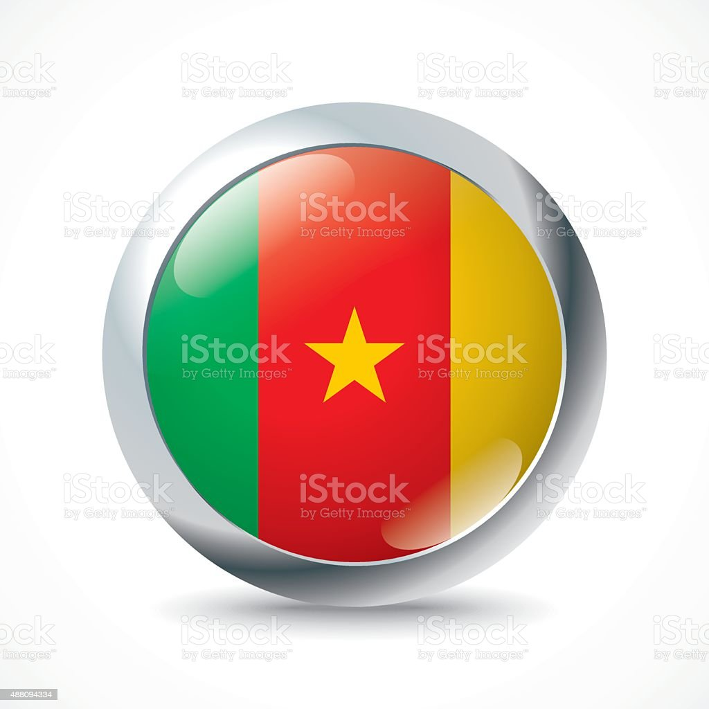 Cameroon flag button vector art illustration