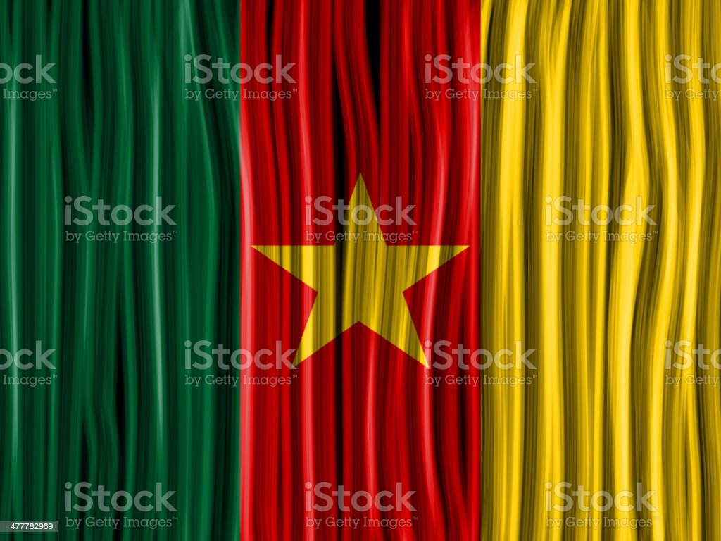 Cameroon Flag Wave Fabric Texture Background vector art illustration