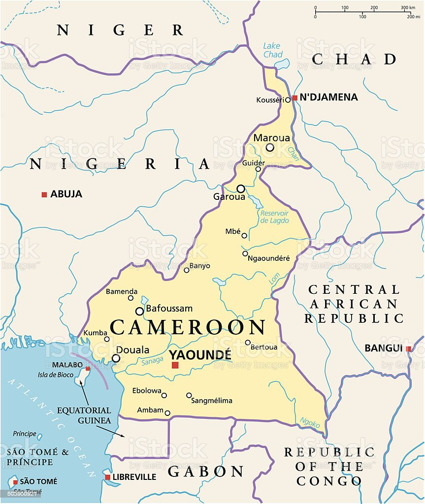 Cameroon Political Map vector art illustration