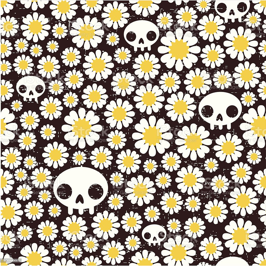 Camomile and skull seamless pattern. royalty-free stock vector art