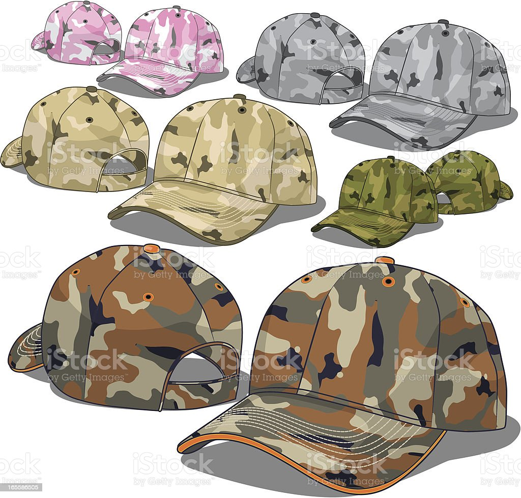 Camouflage Caps royalty-free stock vector art