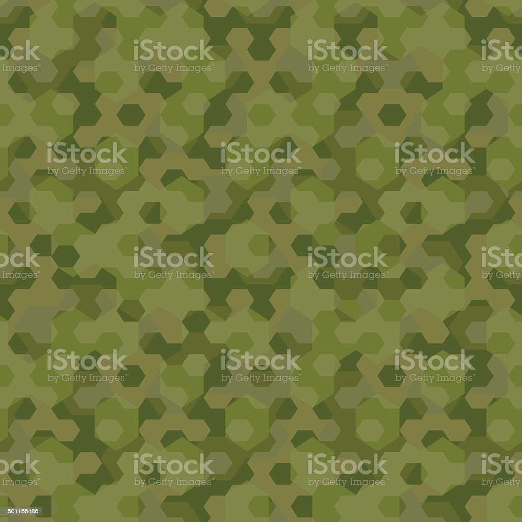 Camouflage geometric hexagon background seamless pattern vector art illustration