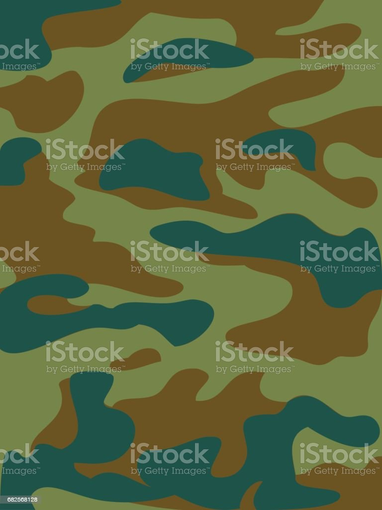 Camouflage pattern background vector illustration. Classic clothing style masking camo repeat print. Green brown khaki olive colors forest texture vector art illustration