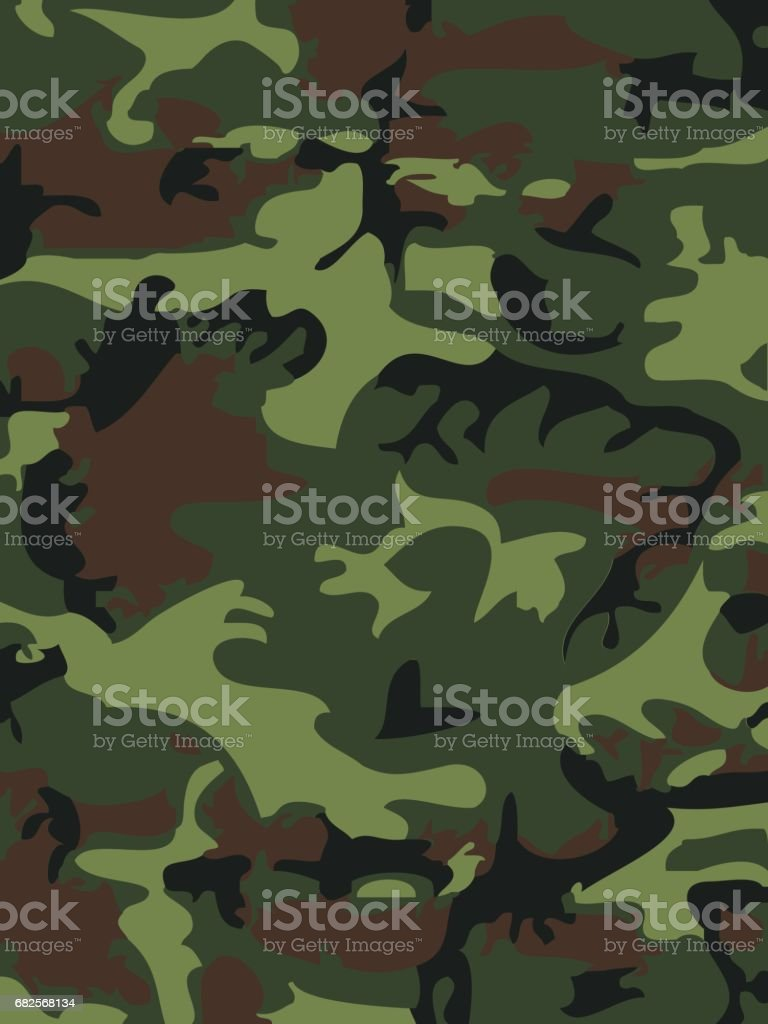 Camouflage pattern background vector illustration. Classic clothing style masking camo repeat print. Green brown black olive colors forest texture vector art illustration