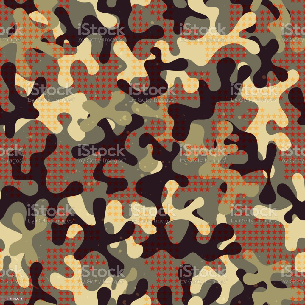 Camouflage seamless pattern with star shapes. royalty-free stock vector art