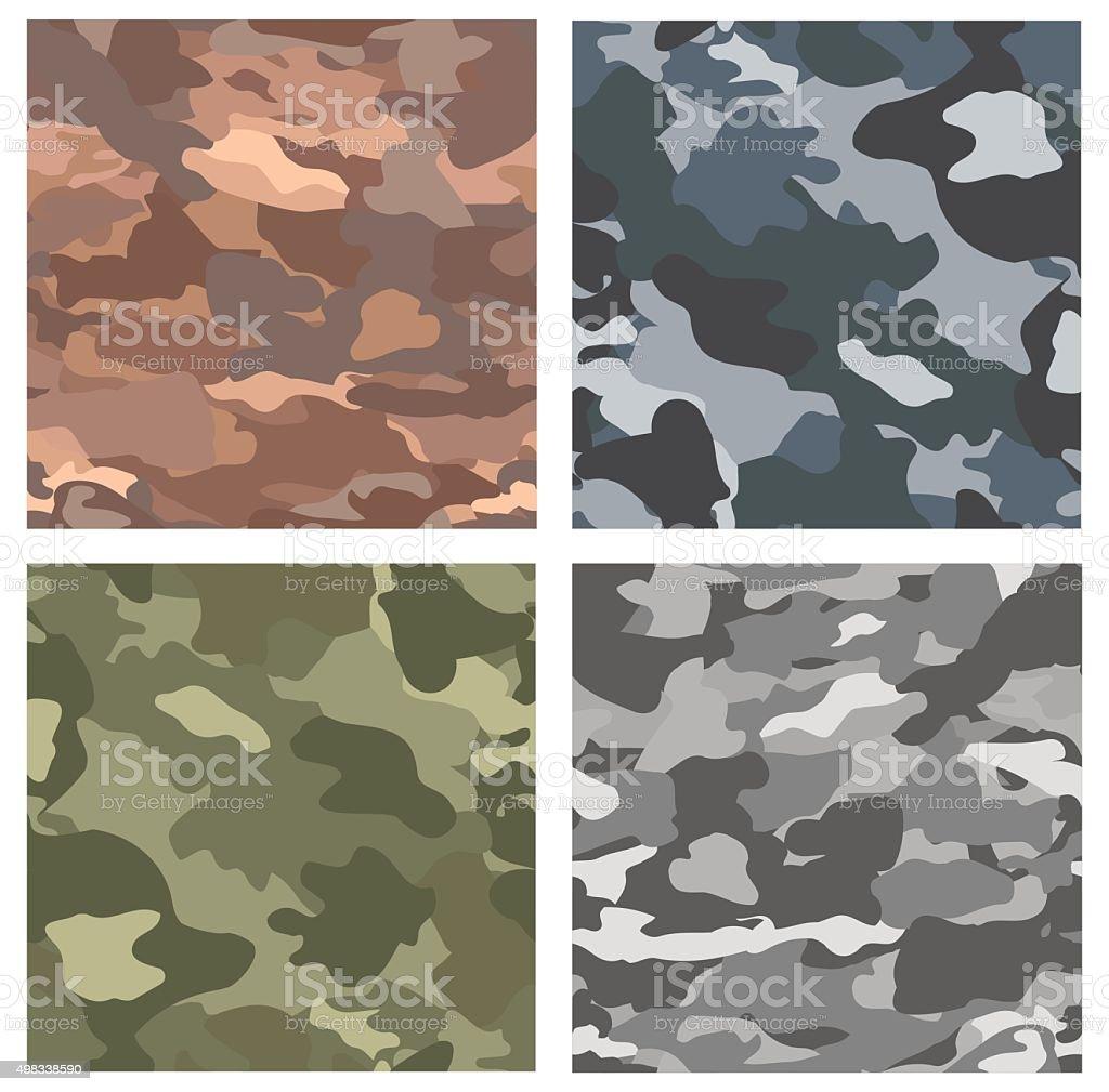 Camouflage seamless patterns. vector art illustration