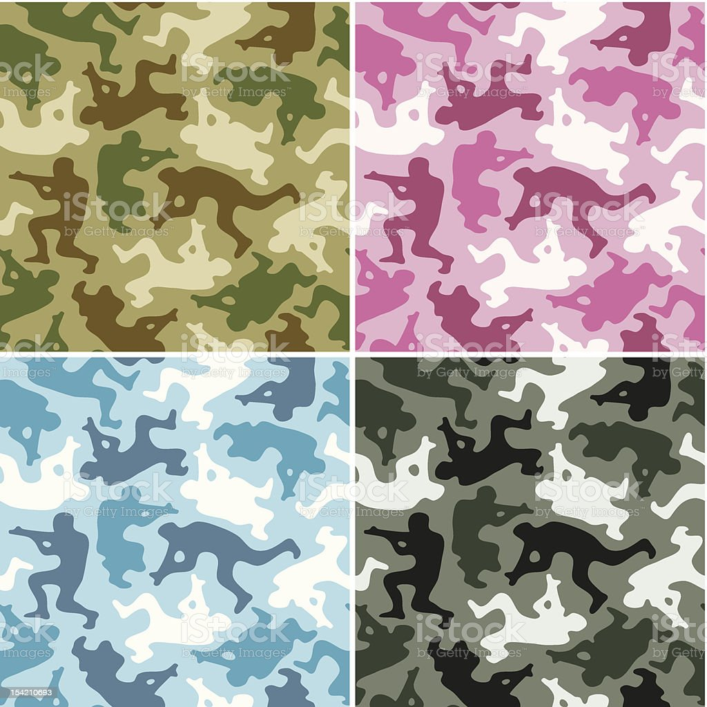 Camouflage set. Spots in the shape of men with weapons royalty-free stock vector art