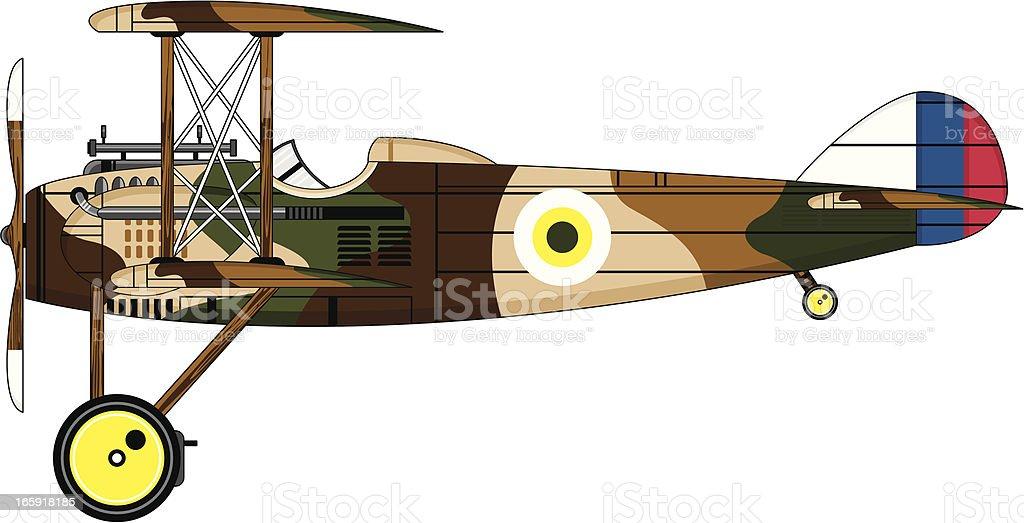 Camouflaged Military Biplane vector art illustration