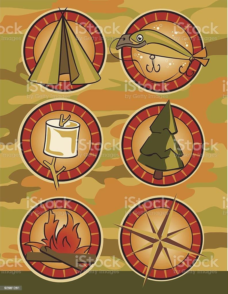 Camp Badge Icons royalty-free stock vector art