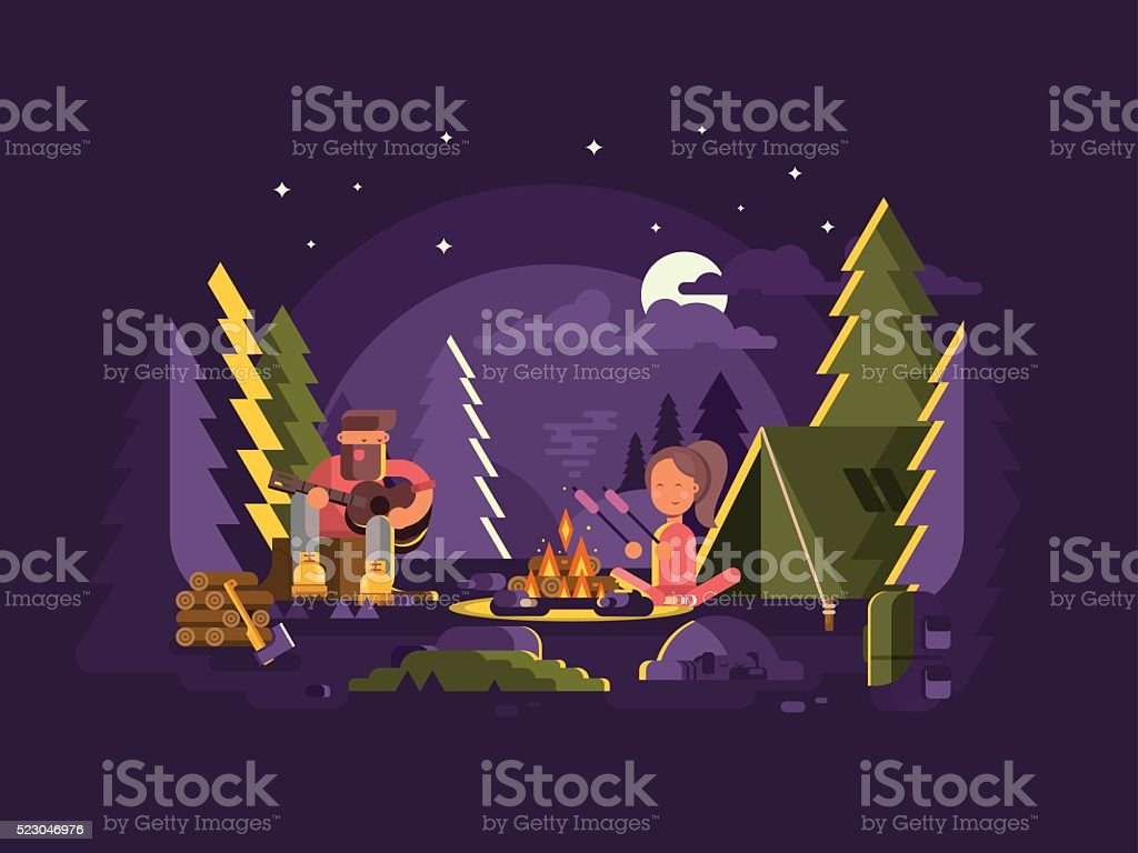 Camp is near a fire vector art illustration