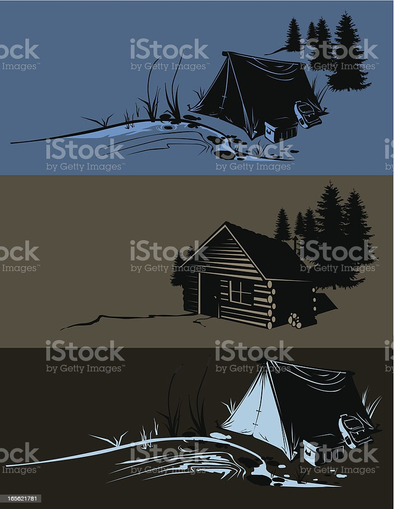 camp sites vector art illustration