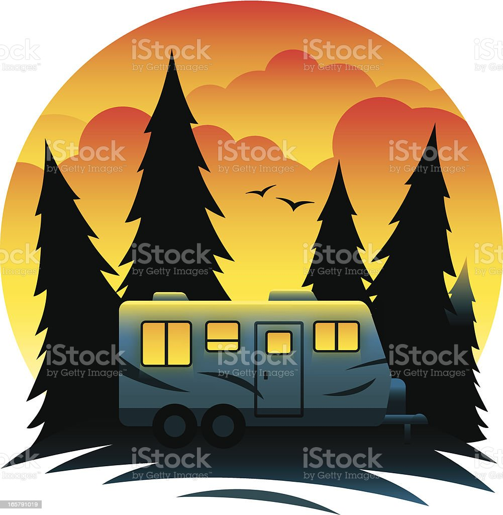 Camp Trailer at Dusk royalty-free stock vector art