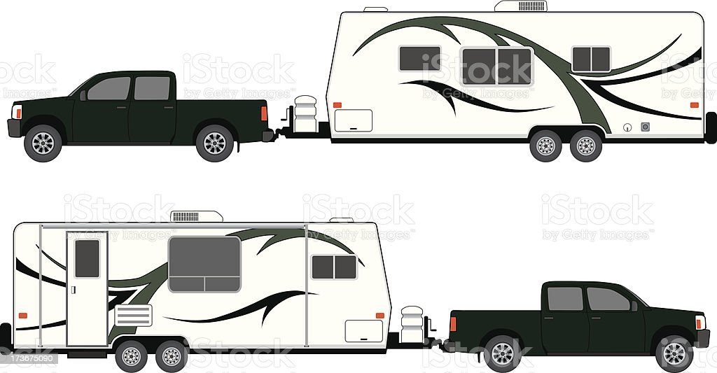 Camp trailer with pickup vector art illustration