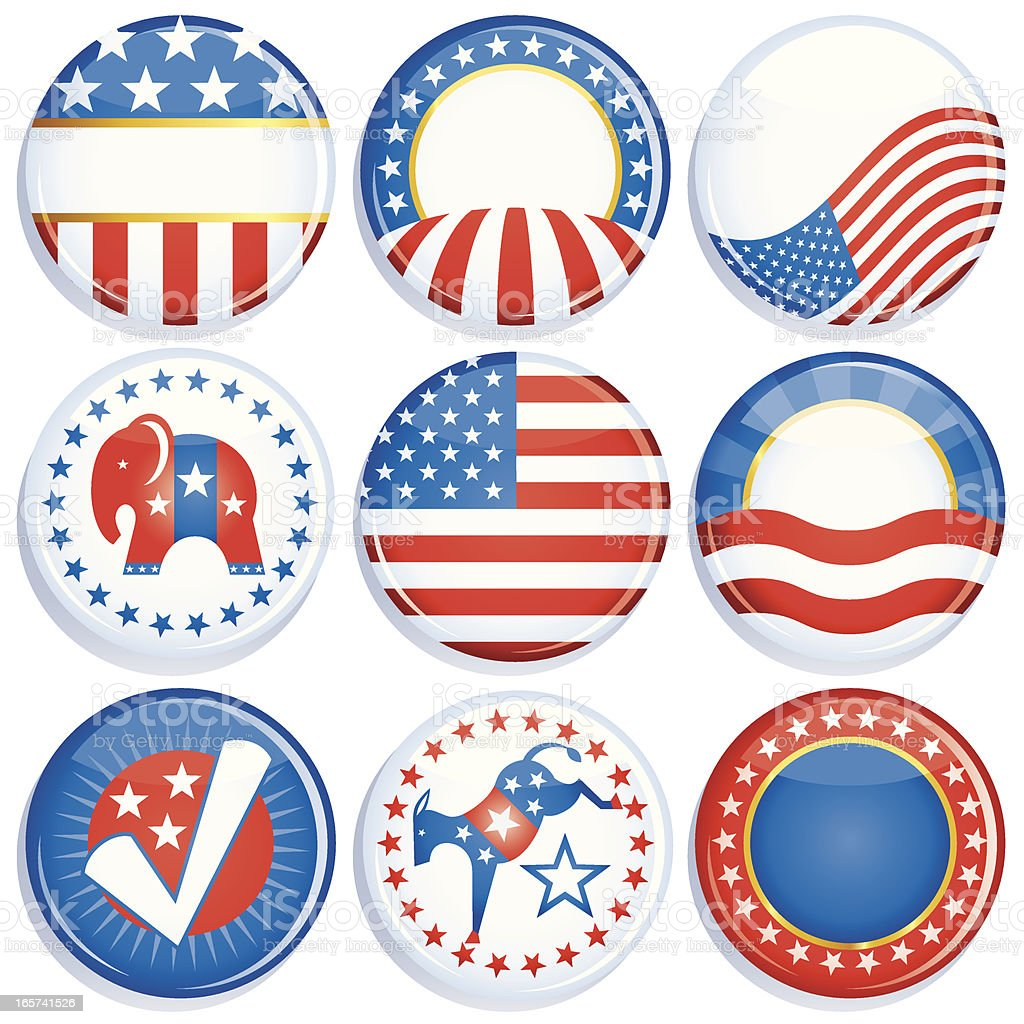Campaign Buttons vector art illustration