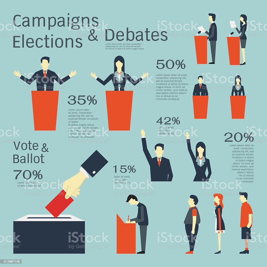 Campaigns and elections vector art illustration