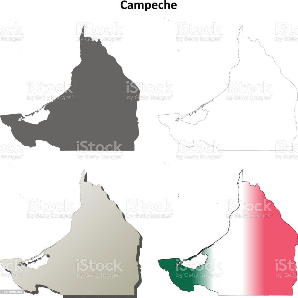 Campeche blank outline map set vector art illustration