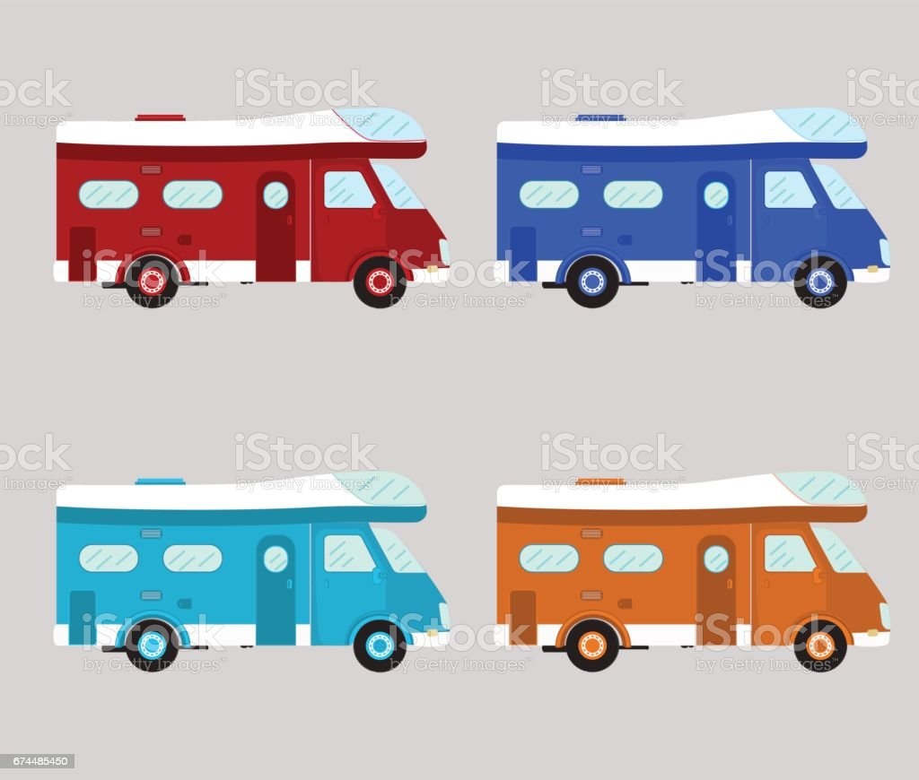 Camper car isolated vector art illustration