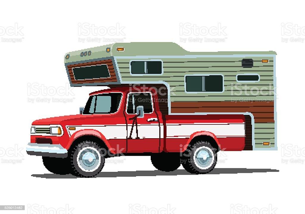 Camper shell on red pickup truck vector art illustration