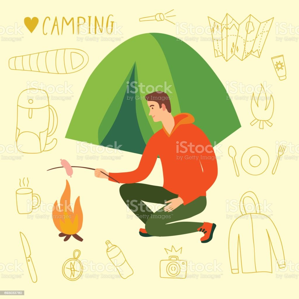 Camper sitting near the tent cooking sausage on fire vector art illustration