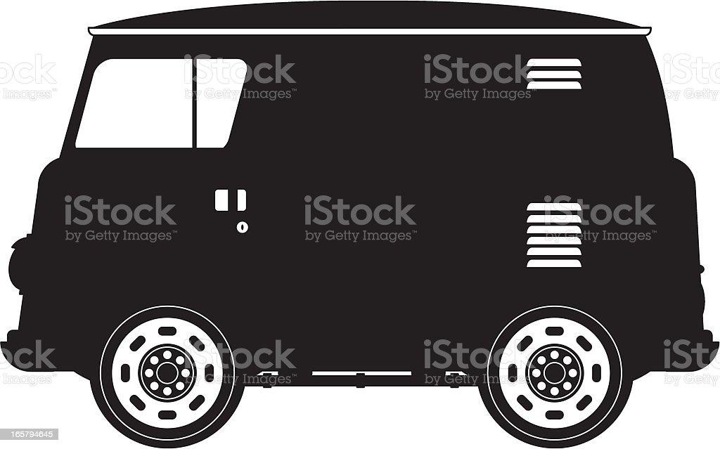 Camper Van in Silhouette. royalty-free stock vector art