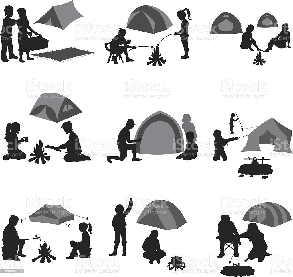 Campers at campsite vector art illustration