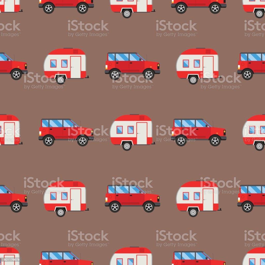 Campers vacation travel car summer seamless pattern trailer house vector illustration flat transport vector art illustration