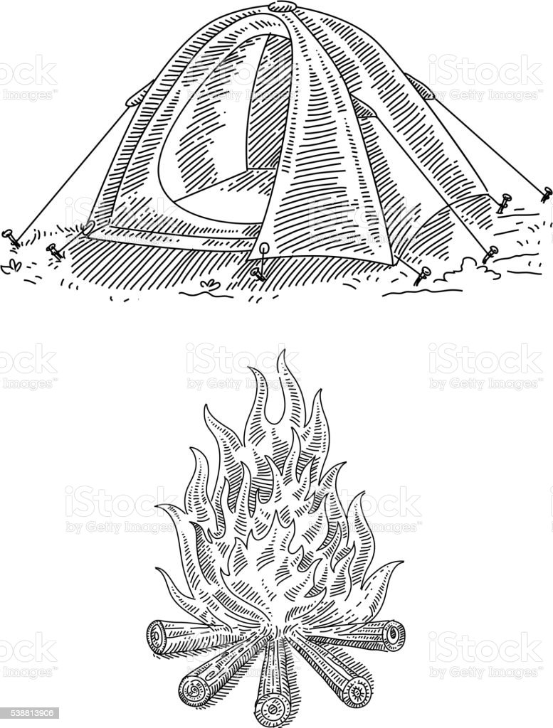 Campfire and Tourist tent Drawing vector art illustration