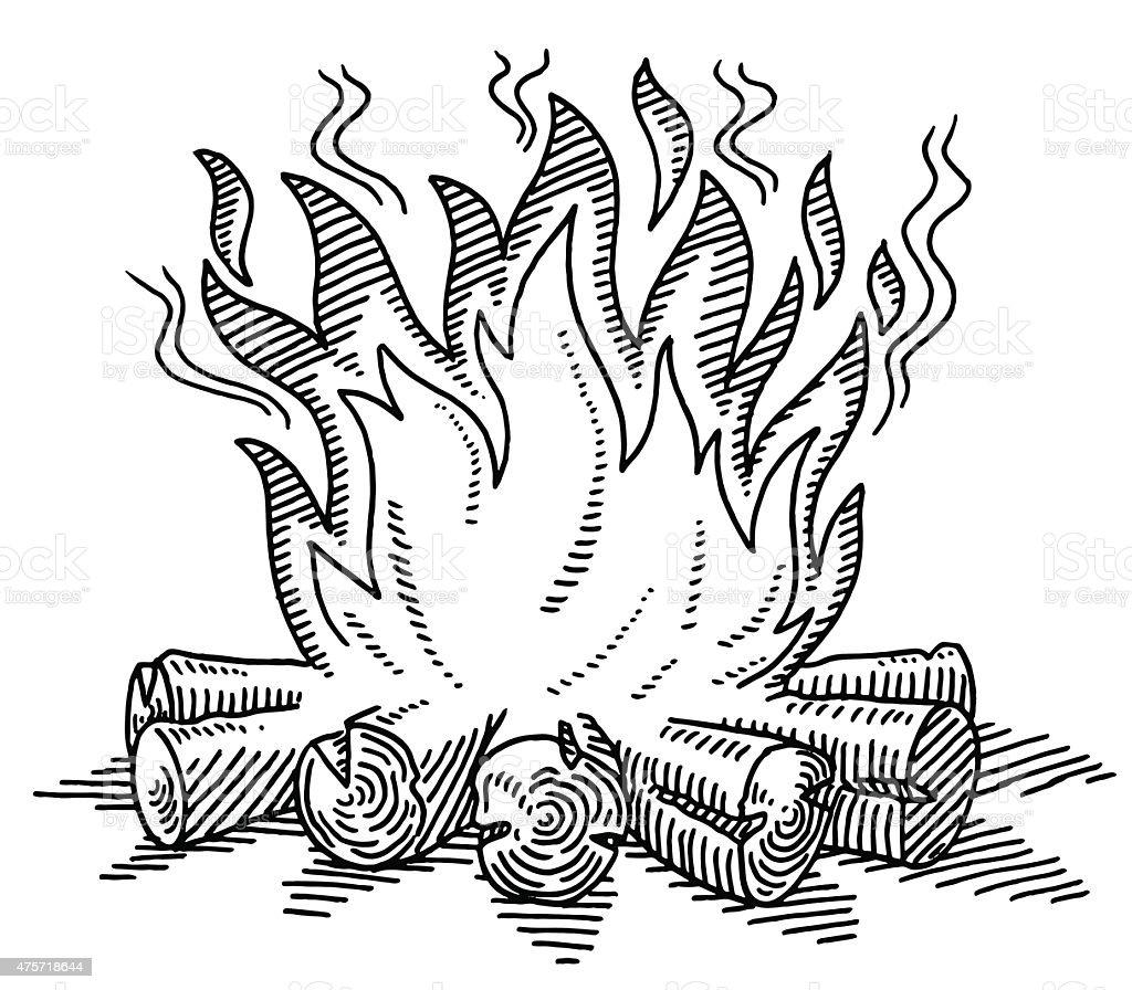 Campfire Drawing vector art illustration