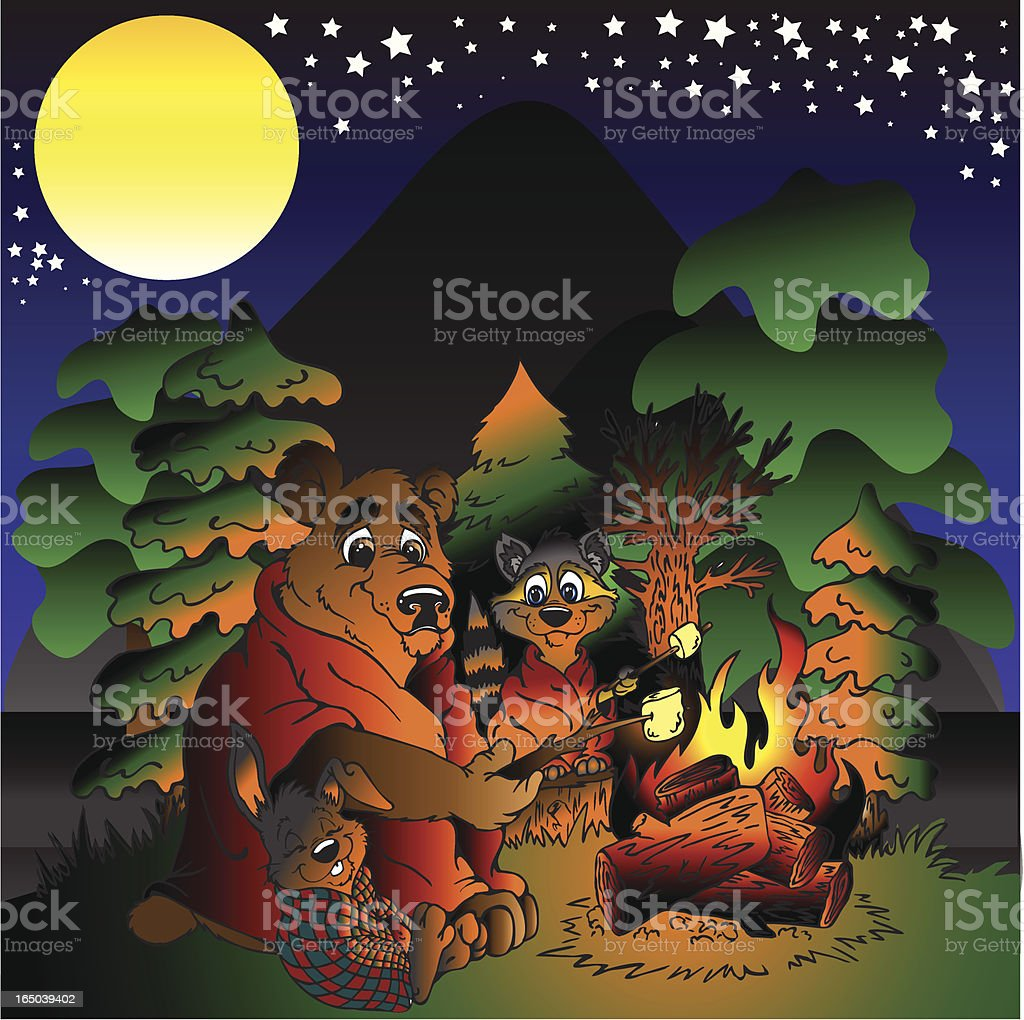 Campfire Friends royalty-free stock vector art
