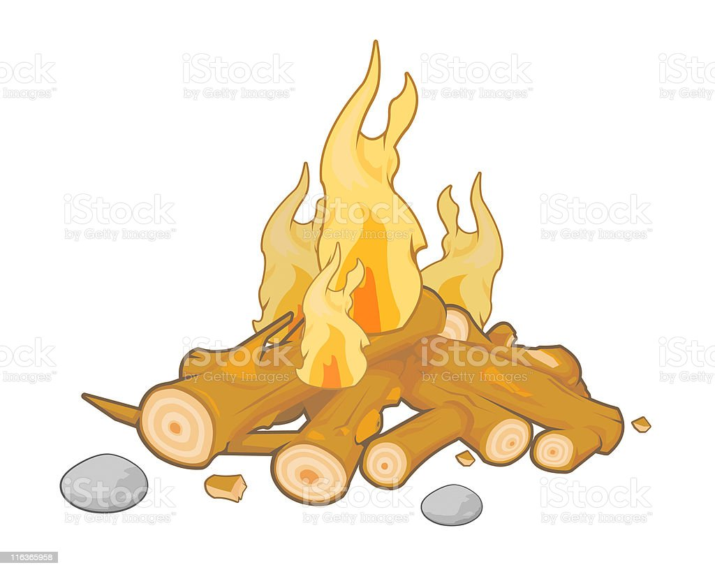 Campfire vector art illustration