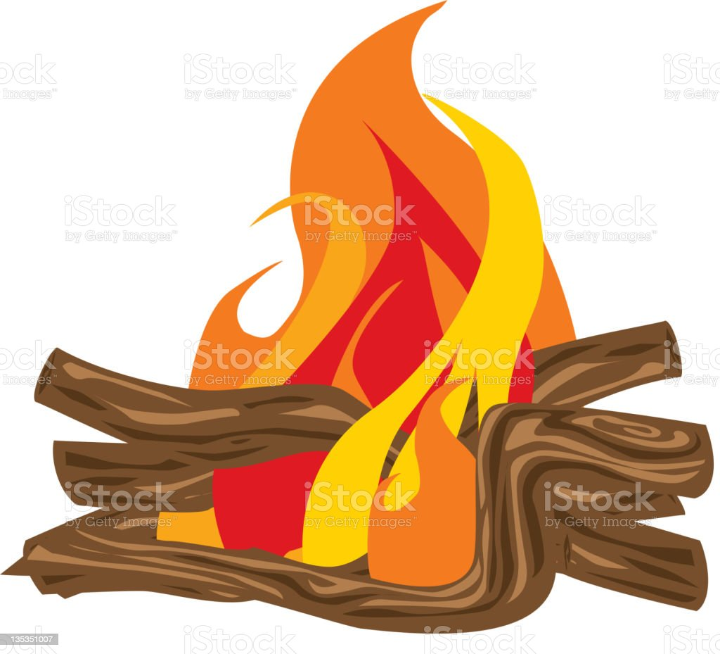 Campfire with Roaring Flames royalty-free stock vector art