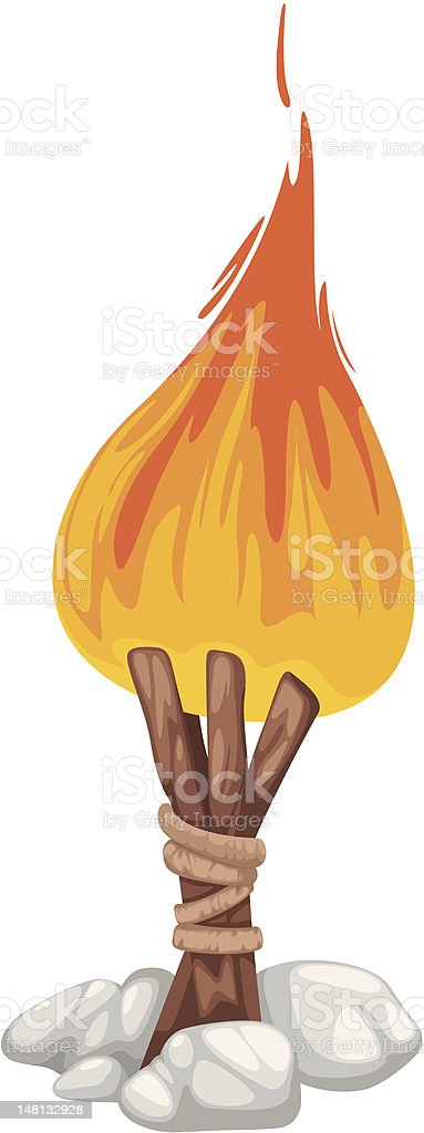 Campfire with stone royalty-free stock vector art