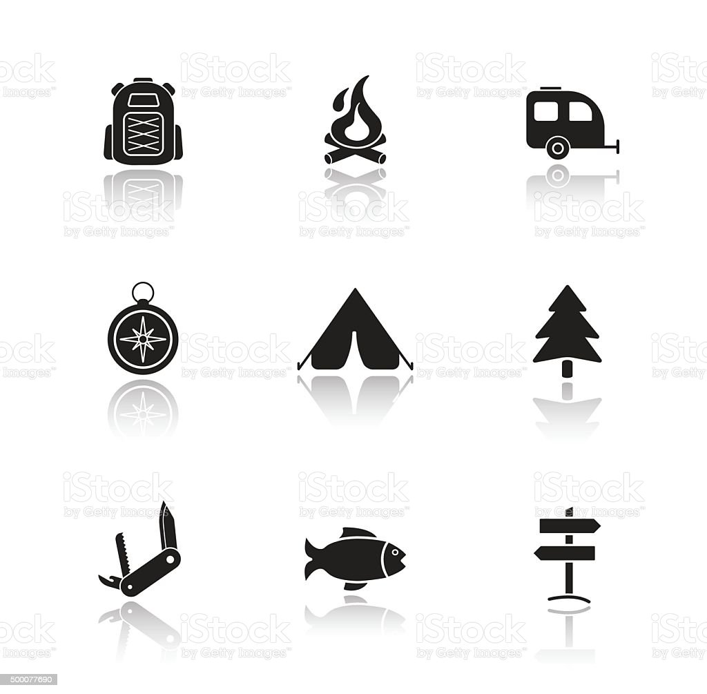 Campground equipment drop shadow icons set vector art illustration