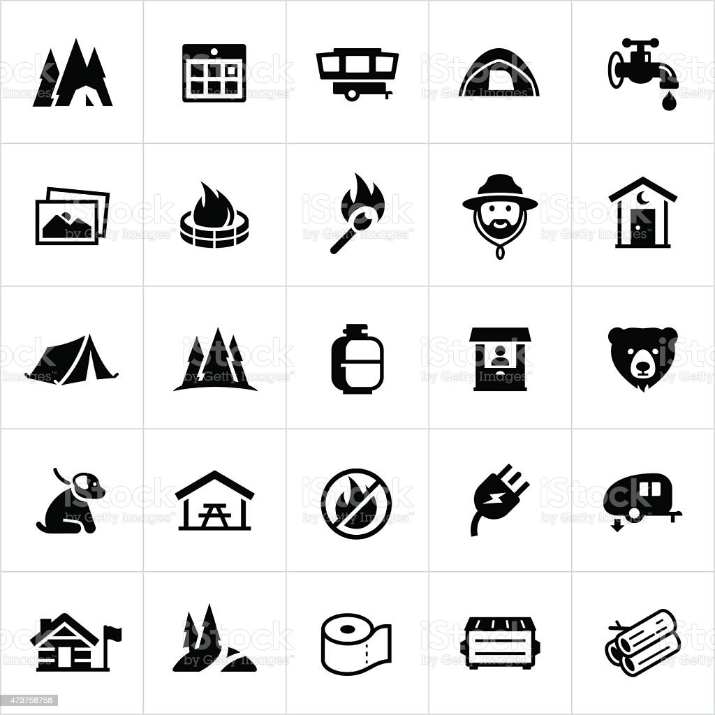 Campground Icons vector art illustration